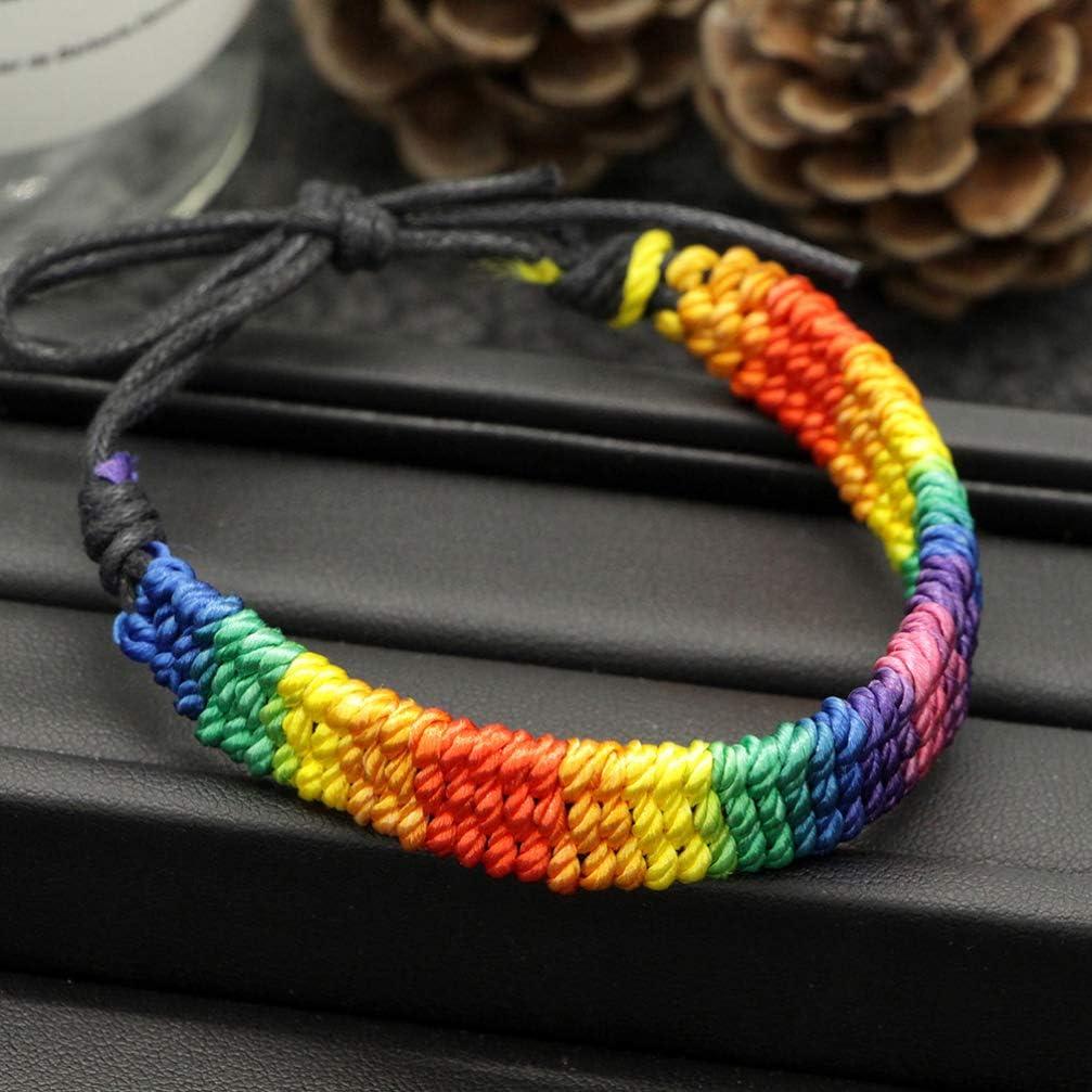 Happyyami 2pcs Rainbow Cord Bracelet Gay Pride Wristband LGBT Bracelet