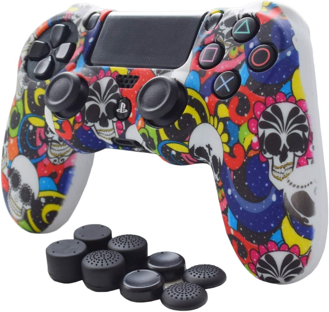 PS4 Controller Cover,Pandaren Anti-Slip Silicone PS4 Skin Set for PS4 /Slim/PRO Controller(Blue B Controller Skin x 1 + FPS PRO Thumb Grips x 8)