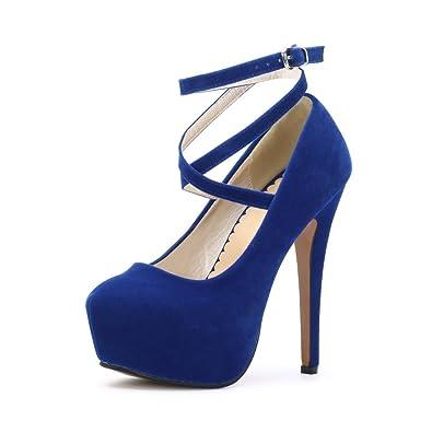 bb6834820055 OCHENTA Femme Escarpins Bride Cheville Sexy Talon Aiguille 14CM Plateforme  Epais Chaussures Club Soirée 01 Bleu