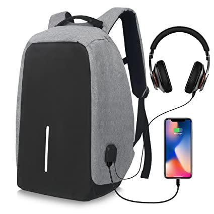 b28ce1ee1242 College Backpack Business Laptop Backpack with USB Charging Port Headphone  Port Fit 15.6 15