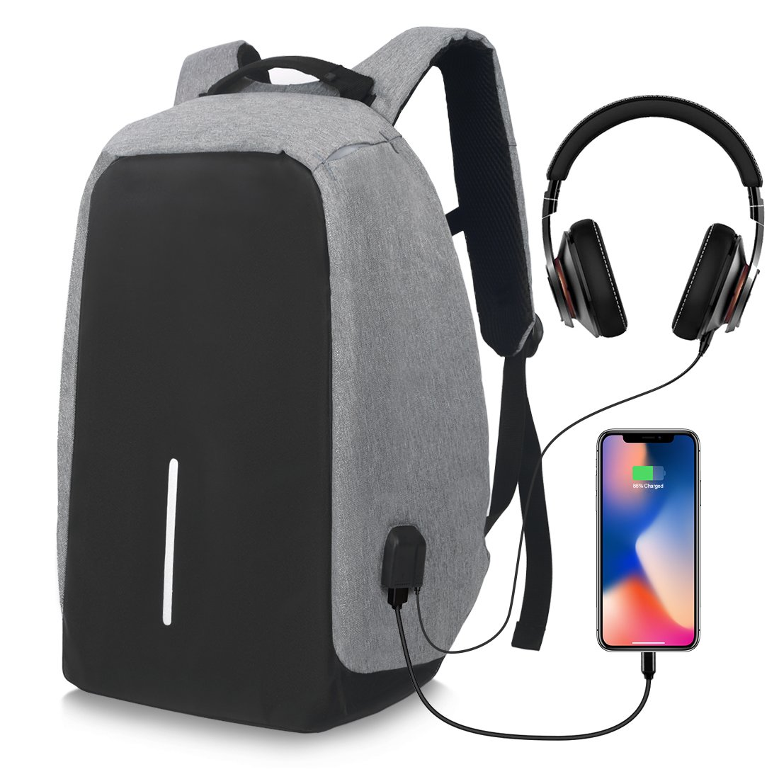 Business Laptop Backpack with USB Charging Port Headphone Port Fit 15.6/15/14 Inch Laptop Anti Theft Backpack Lightweight College Students Book Bag Water Resistant Computer Work Bag