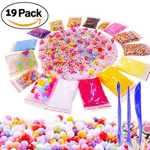Slime Supplies Foam Beads Making Kit - Pom Poms Fish Bowl Styrofoam Balls Fruit Slices 3 Tools 19 Pack Decorative Floral Floam Cloud Crunchy Package DIY Craft for Girls Boy Kids BUYLET -