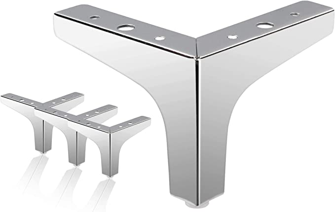 Amazon.com: Zorfeter 4 Inch Furniture Legs, Set of 4 Modern Metal Triangle Furniture Sofa Feet DIY Replacement Parts for Table Cabinet Cupboard Sofa, Polished Chrome: Home Improvement
