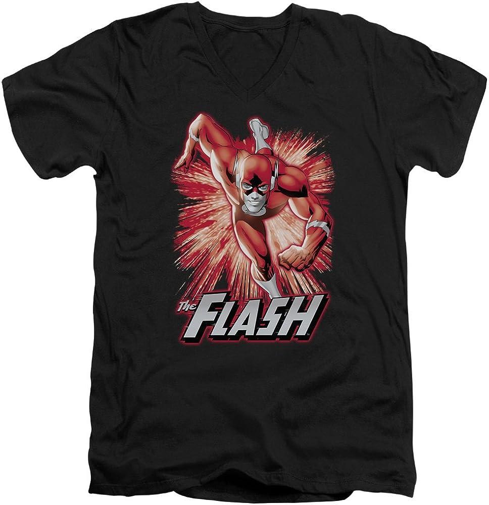 Trevco JLA Flash Red /& Gray Short Sleeve Adult V Neck 30 1 Tee Black S.
