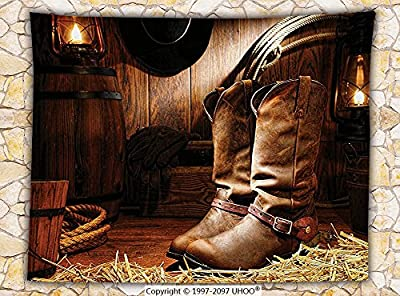 Western Decor Fleece Throw Blanket Wild West Boots in Wooden Room Classical Folkloric Old Fashioned Wild Sports Theme Throw Brown
