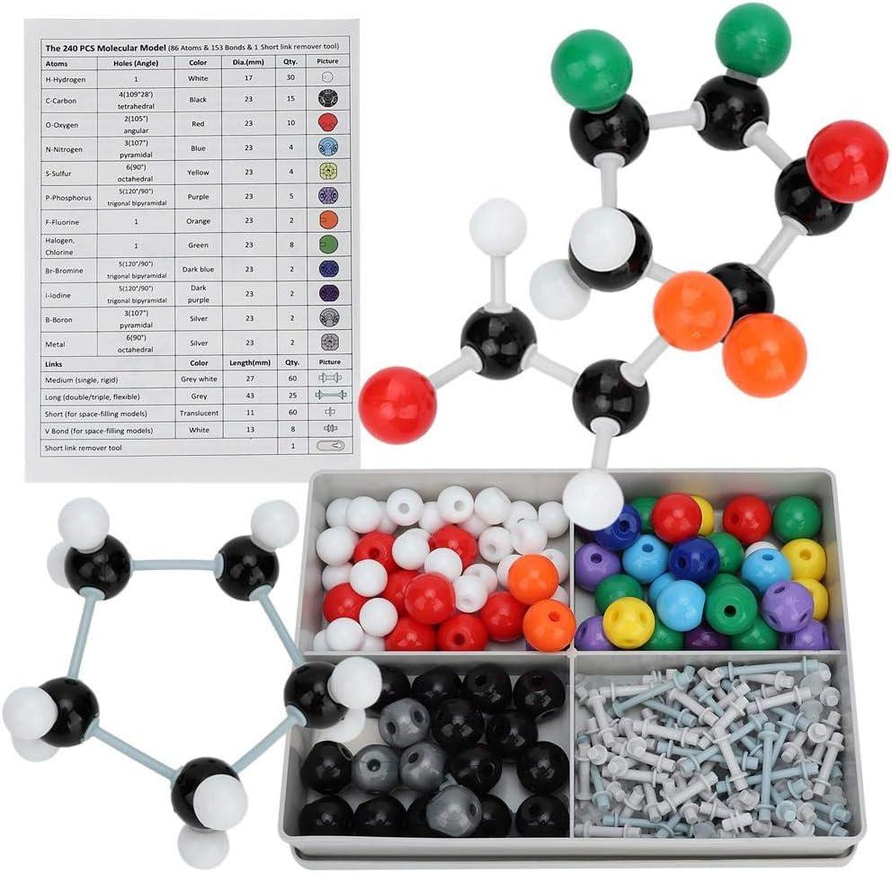 240 Unids Modelo Molecular Kit de Estructura Orgánica Inorgánica Química Conjunto de Estructura Órbita de Electrones Kit Modelo para Educación Enseñanza para Niños