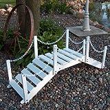 Decorative Garden Bridge with Posts and Chain Finish: Satin White