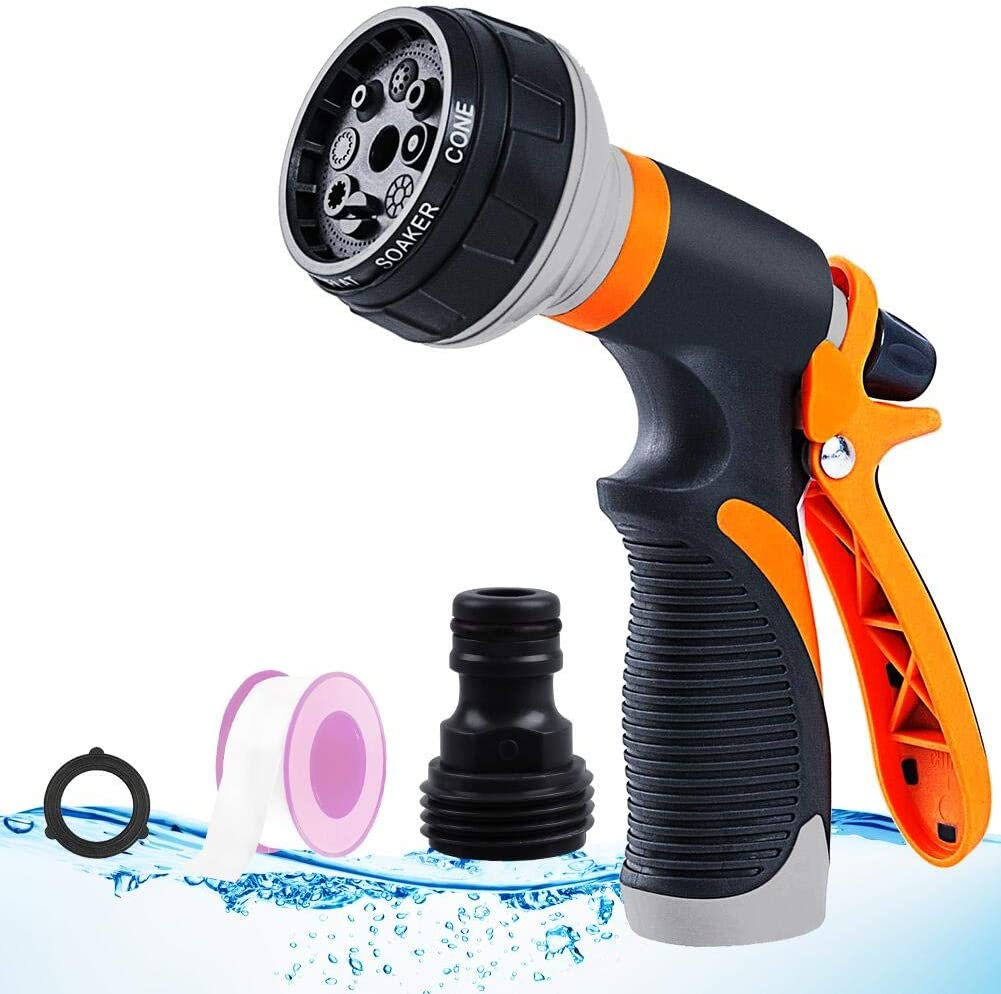 ASIJIA Water Hose Sprayer Nozzle, 8 Adjustable Patterns Garden Hose Nozzle, Slip and Shock Resistant Nozzle High Pressure Water Gun for Watering Garden,Lawns, Washing Cars, Showering Pets etc.