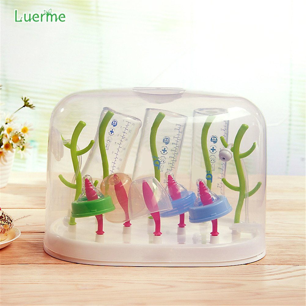 Luerme Baby Bottle Dryer Drying Rack Feeding Bottle Cleaning Dryer Holder Tree with Dust Cover