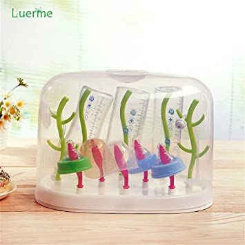 Luerme Baby Bottle Dryer Drying Rack Feeding Cleaning Holder Tree With Dust Cover