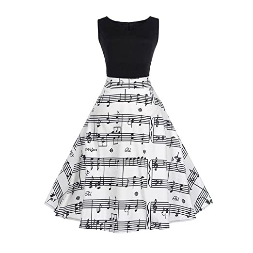 E-Scenery Womens Vintage Musical Note Printing Bodycon Sleeveless Casual Evening Party Prom Swing Dress
