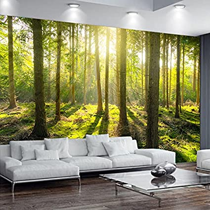 green tree plant wall mural forest photo picture wallpaper bedroom decoration
