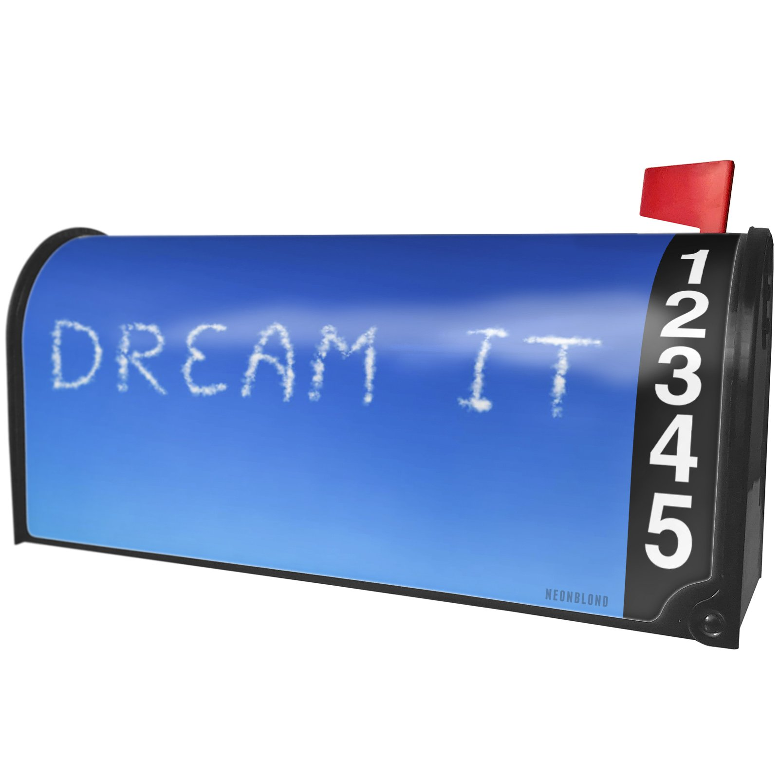 NEONBLOND Dream It Clouds Fresh Air Magnetic Mailbox Cover Custom Numbers