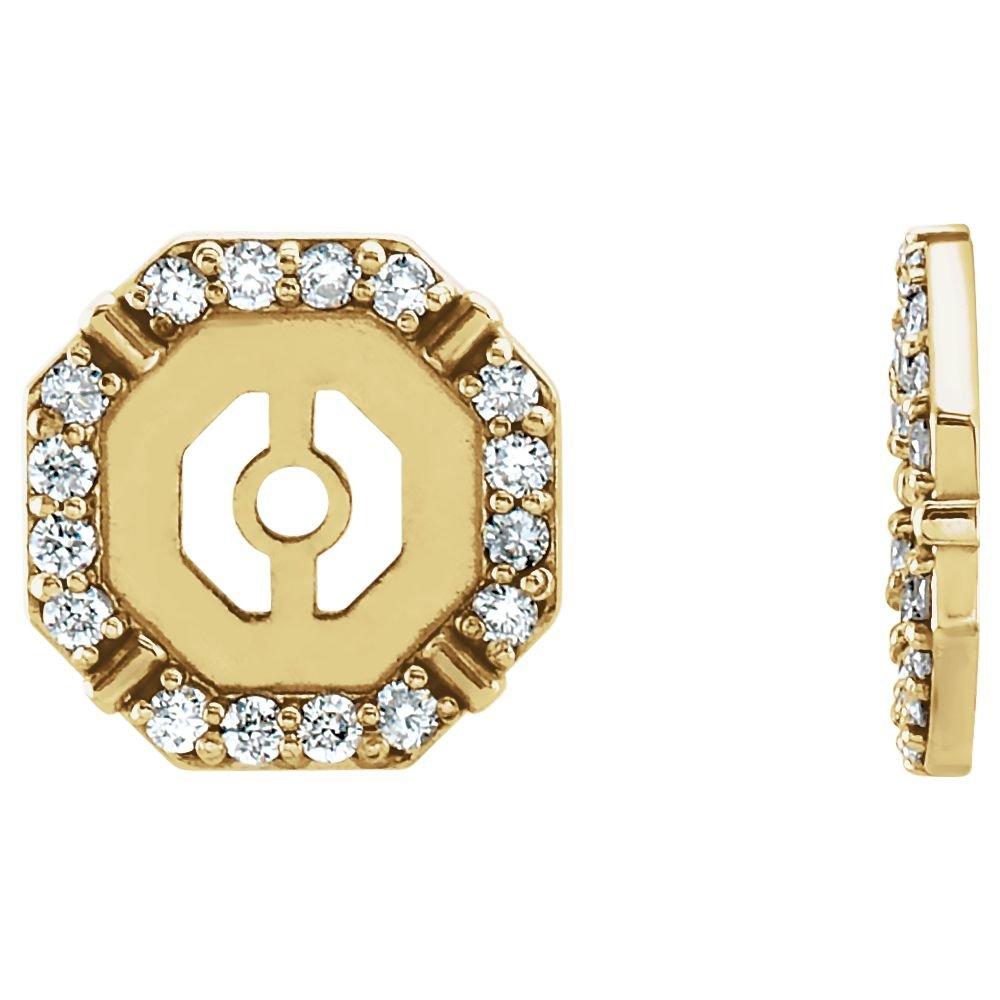 STU001- 14K Yellow 1/6 CTW Diamond Earring Jackets by STU001-