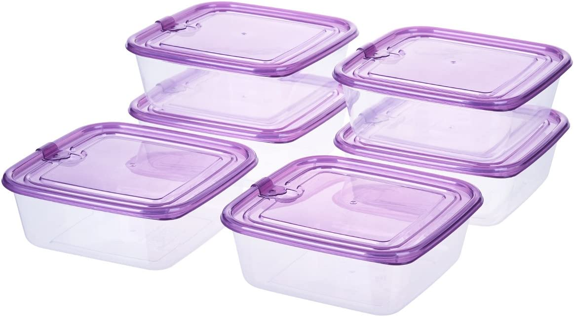 3-Cup Square Sandwich Food Storage Containers with Airtight Plastic Lids, Grape Purple, 6-Pack Meal Prep Containers