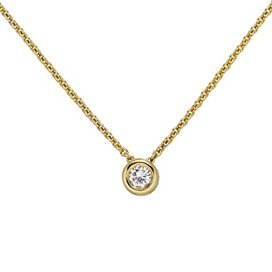 Collier avec pendentif solitaire en or jaune 585 et diamants 45 cm ... d3c79218fb60
