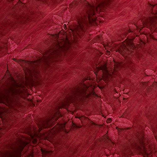 Longues Vrac Femmes Bouffant Rouge Chemise Florale en Tops Dentelle A Neck Blouses Manches Chemisier Broderie V qRqSvnw18