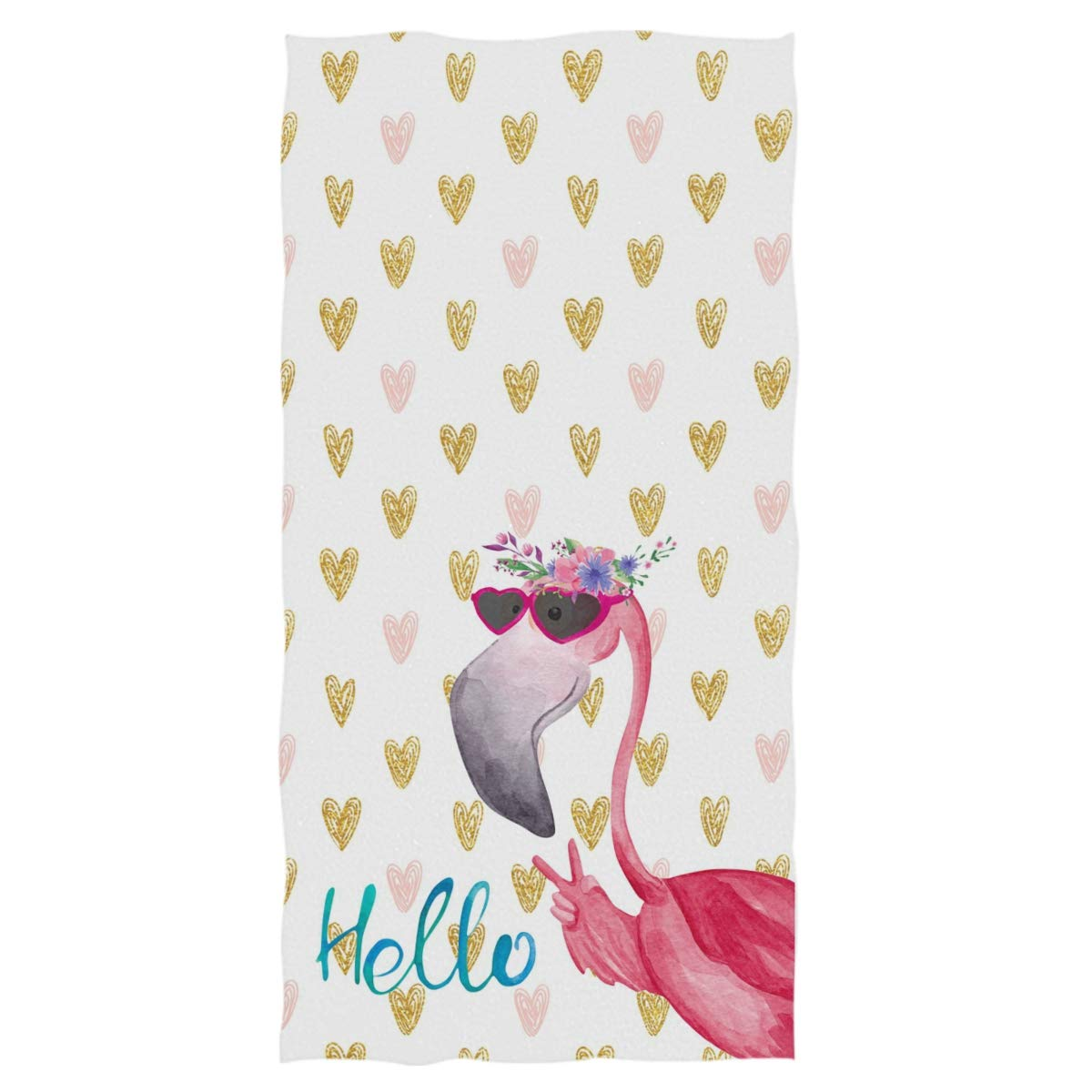 Pfrewn Hello Tropical Flamingo Hand Towels 16x30 in, Pink Golden Hearts Floral Thin Bathroom Towel, Ultra Soft Highly Absorbent Small Bath Towel Bathroom Decor