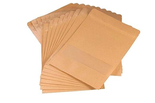 UTRO Bolsas ziploc Hechas de papel Kraft Con cierre hermético Práctica ventana de plástico Para almacenar alimentos 20 unidades, plástico, 5.5