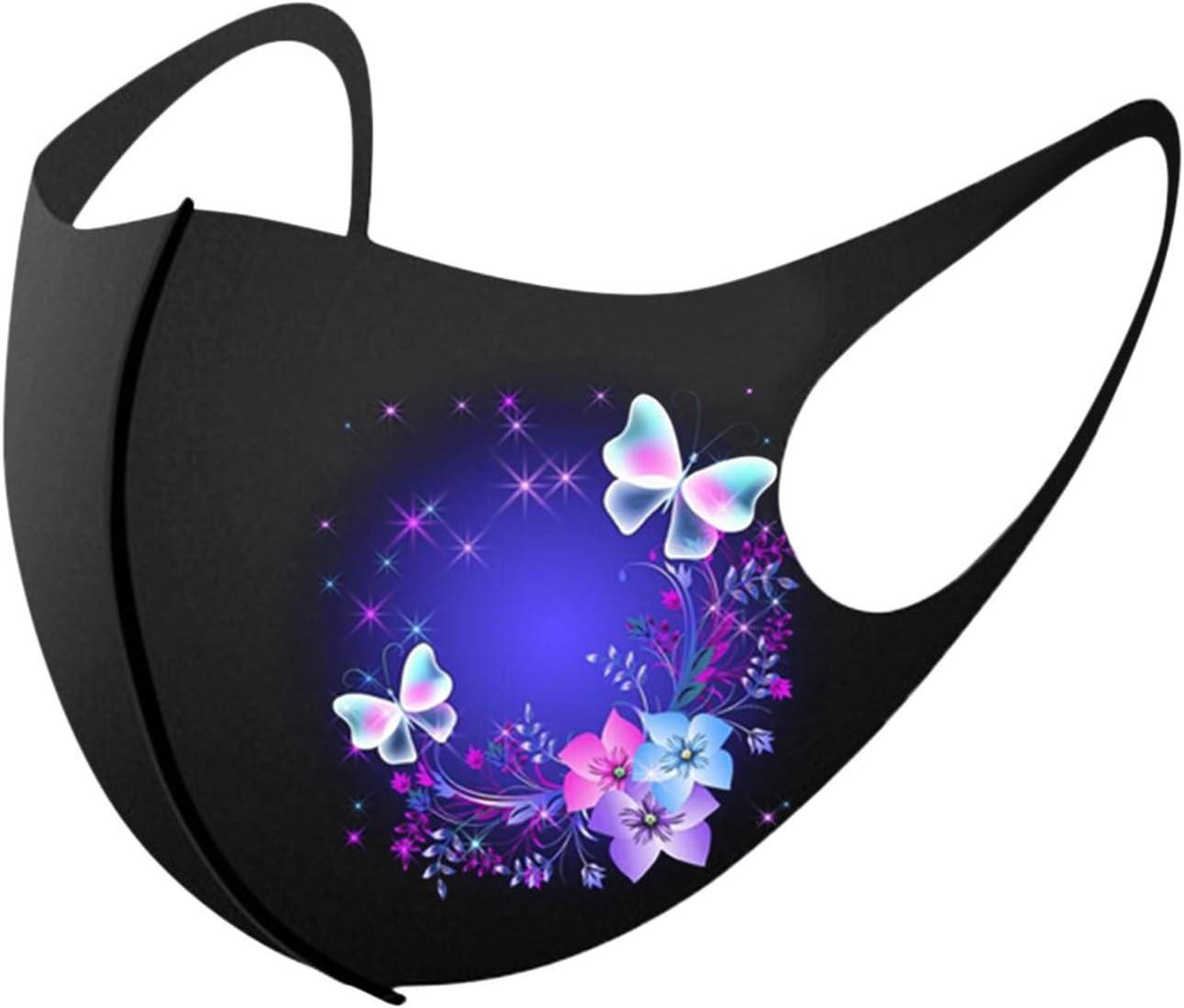 Lavable y Reutilizable Color Negro Finebo 5 pcs Tela de decoraci/ón Facial a Prueba de Viento para Exteriores con Estampado de Mariposas