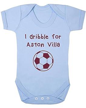 Aston Villa Fútbol baby//toddler bib-white//blue//pink-personalised gift-boy//girl