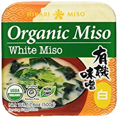 Additive free - Gluten Free - No GMOs - No MSG - Product of Japan This white miso is made of 100% Organic Rice & Soybeans and is additive free. A long fermentation process creates its distinct, deep rich taste and aroma. NET WT. 17.6 oz (...