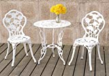 3PCS Bistro Set Outdoor Patio Garden Round Table Chairs Rose Floral in White Color