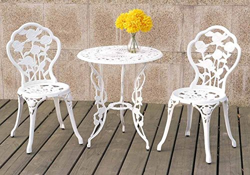 3PCS Bistro Set Outdoor Patio Garden Round Table Chairs Rose Floral in White Color For Sale