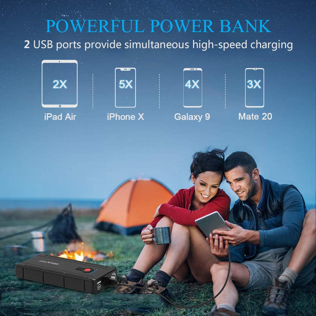 BEATIT BT-G22 QDSP 1500A Peak 12V Portable Car Lithium Jump Starter (up to 8.0L Gas and 6.2L Diesel) Battery Booster Phone Charger Power Pack with Smart Jumper Cables G22 by BEATIT (Image #4)