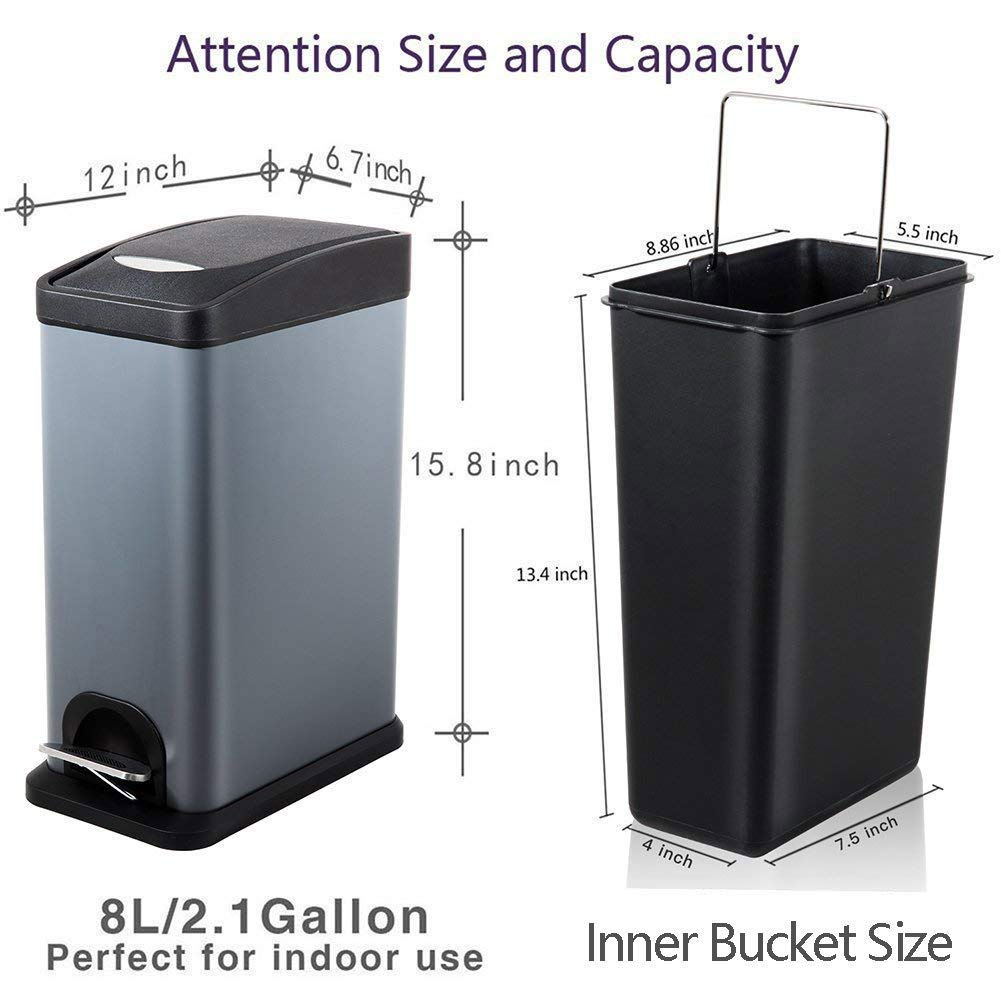 H+LUX Garbage Can,Small Rectangular Step Trash Can with Recessed Plastic Lid and Removable Inner Wastebasket for Bathroom Bedroom Office,Fingerprint Resistance,2.1Gal/8L,Gray