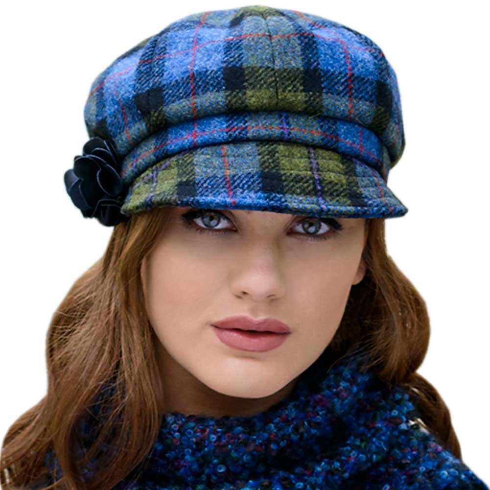 Mucros Weavers Green Plaid Ladies Newsboy Hat, Made in Ireland, One Size Fits Most