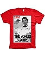 Offizielles Lizenzprodukt Scarface The World Is Yours T-Shirt (Rot)