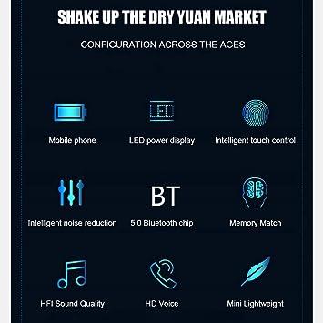 Uzinb Auriculares inal/ámbricos Bluetooth V5.0 exhibici/ón de LED del Banco de la energ/ía 2000mAh con Auricular Impermeable
