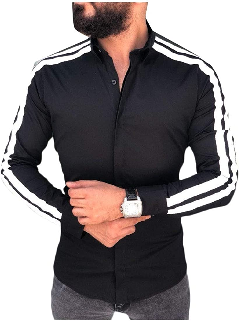 RDHOPE-Men Tri-Color Stripe Long-Sleeve Button Down Turn-Down Collar Shirt