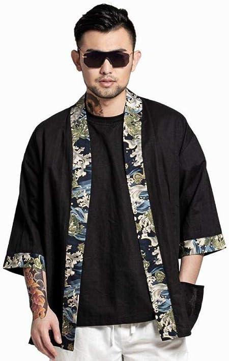 HNBY Los Hombres Japoneses Tradicionales Kimonos Kimono Tradicional Camisa De La Chaqueta For Hombre De La Ropa Japonesa Yukata del Traje De Samurai Hombres (Color : 1, Size : XL): Amazon.es: Hogar