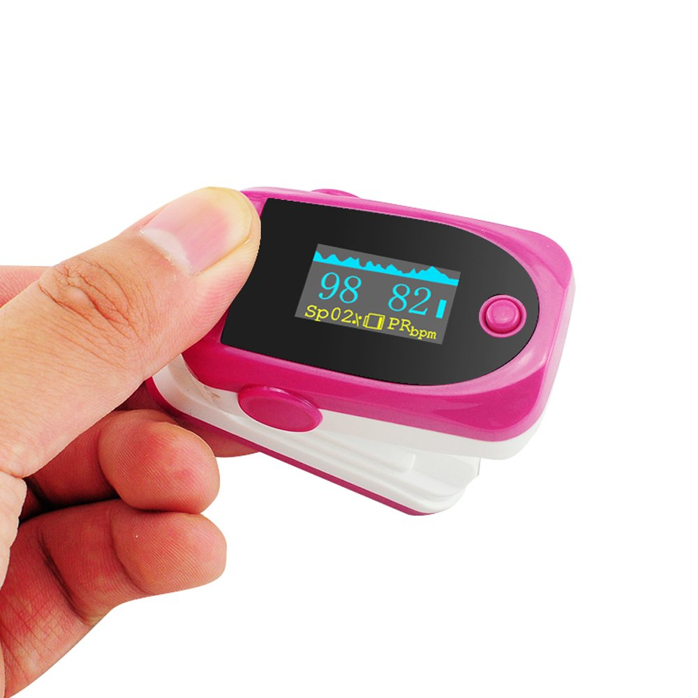 Vinmax Fingertip Pulse Oximeter Oximetry Blood Oxygen Saturation Monitor with Audio Alarm & Pulse Sound   Spo2 Monitor Finger Puls Oximeter,Rose red