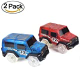 Car Track,MIGE Light Up Toy Car(2-Pack) Glow in the Dark Racing Track Accessories Compatible with Most Tracks,Boys and Girls(Blue and Red)