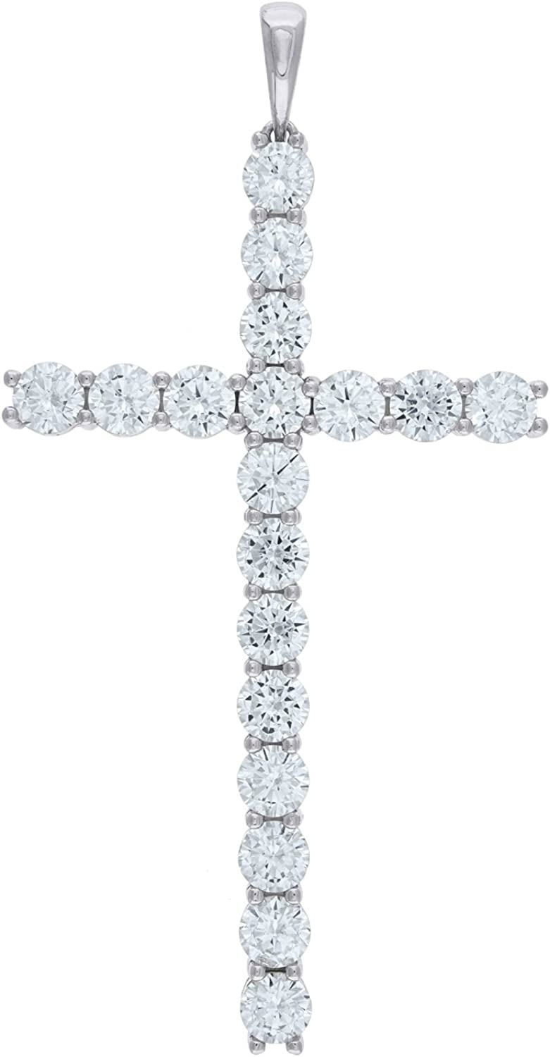 Jewels By Lux Sterling Silver Mens CZ Cross Religious Pendant CharmSet With The Highest Quality Cubic Zirconia.