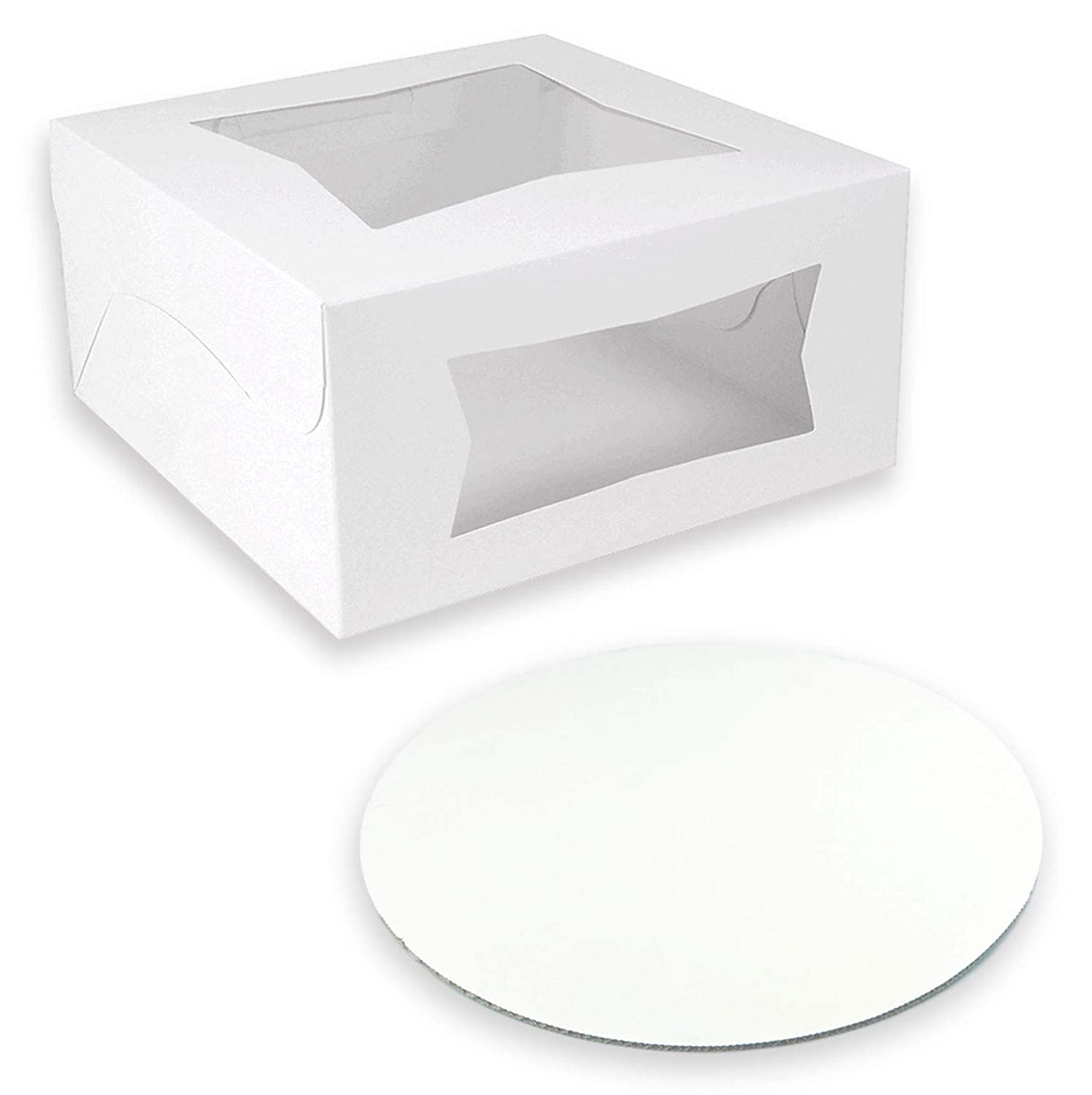 [25 Boxes and 25 Circles Pack] 8x8x4 White Pie/Cake Box with Window and 8 Inch Round Base Board - Cardboard Gift Packaging for Cupcake, Cookie and Pastry, Auto-Popup Restaurant and Bakery Containers