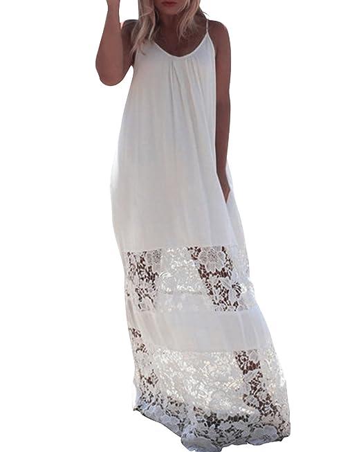 97958fc63472 ZANZEA Donna Pizzo Vestito Lungo Senza Manica Moda Abito Maxi Basic Floreale  Casual Elegante Long Dress  Amazon.it  Abbigliamento