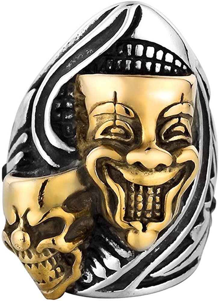 PAMTIER Men's Stainless Steel Gemini Ghost Double Skull Head Ring Cool Biker Jewelry
