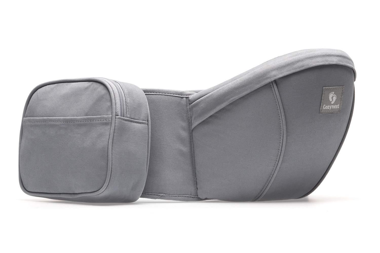 Grau Hipseat H/üftsitz f/ür Babys und Kinder 0-36 Monate leichte bequeme Tragehilfe f/ür die H/üfte COZYNEST Hochwertige Babytrage bis 137cm H/üftumfang mit abnehmbarer Tasche