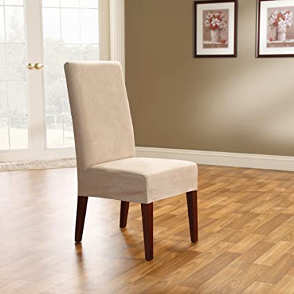 SureFit Soft Suede - Shorty Dining Room Chair Slipcover - Taupe (SF36673)