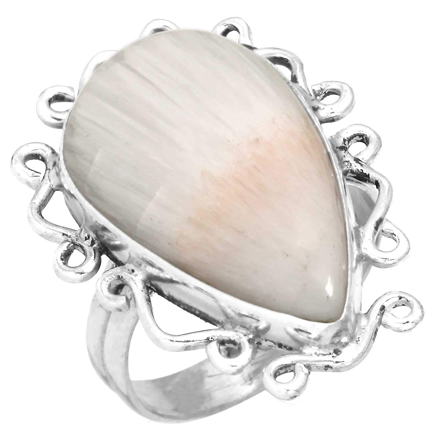 Solid 925 Sterling Silver Unique Jewelry Natural Scolecite Ring Size 5.5