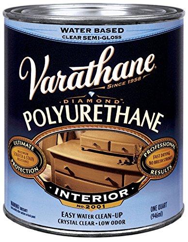 Varathane 200141H 1 Quart Semi-Gloss Water-Based Diamond Polyurethane Finish -