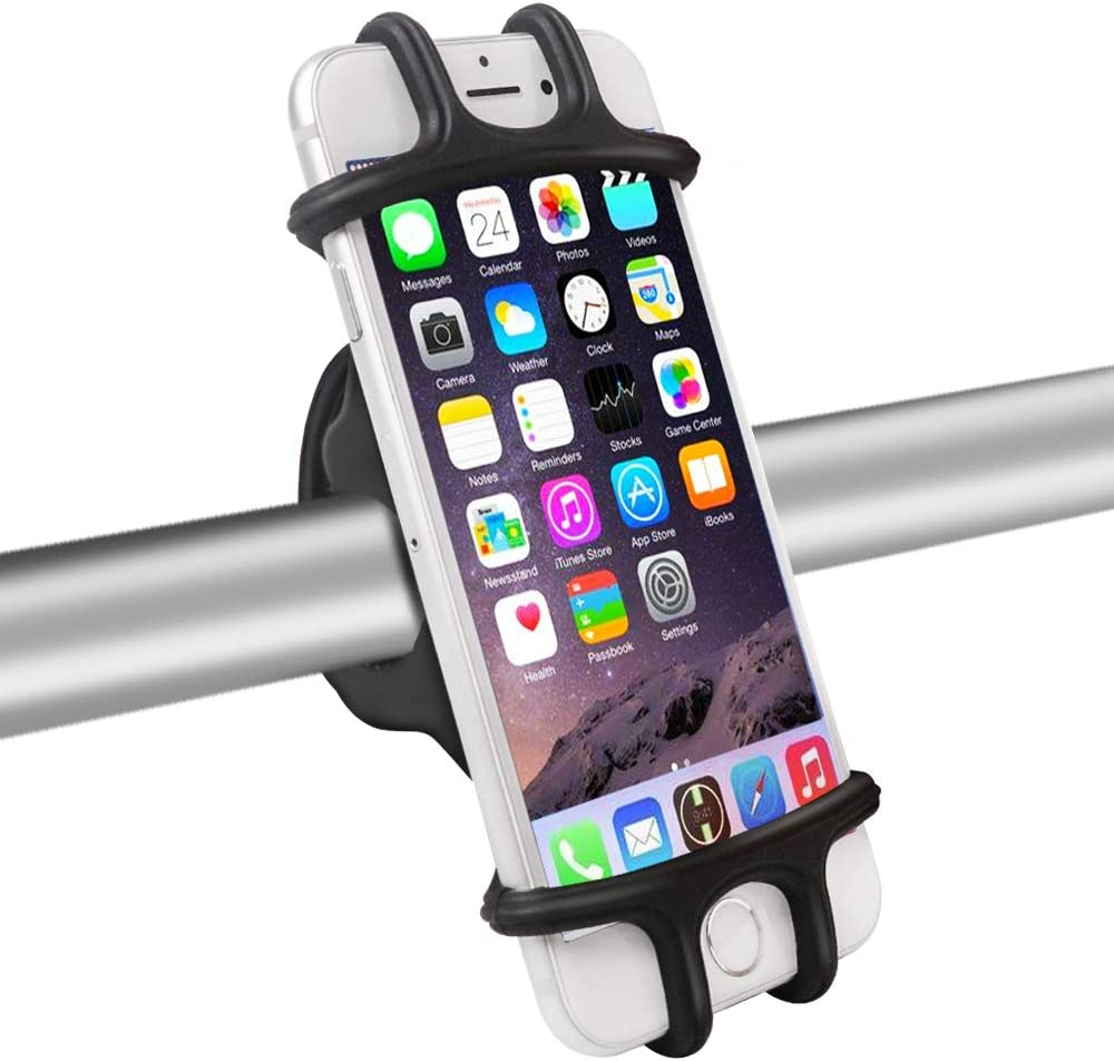 DAWNDEW Silicone Bike Phone Mount, Universal Adjustable and Anti Shake Bicycle Phone Mount, Fits iPhone/Android/GPS/Between 4 to 6 inches for Xmas Gift