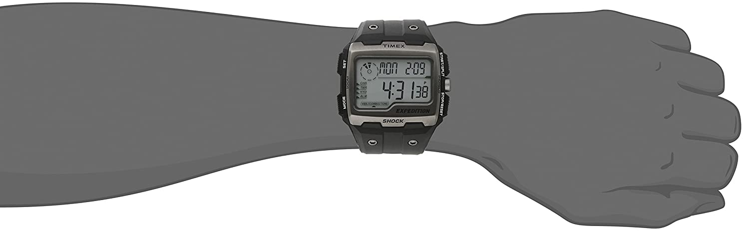 58904047f828 Amazon.com  Timex Men s TW4B02500 Expedition Grid Shock Black Resin Strap  Watch  Timex  Watches