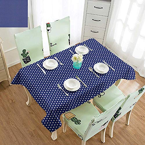 DILITECK Waterproof Tablecloth Navy Blue Old Fashioned Polka Dots Pattern in Marine Colors Retro Nautical Inspiration Table Decoration W70 xL94 Navy Blue White