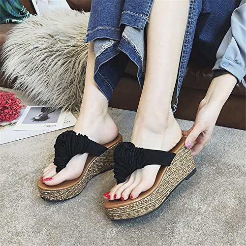 Pantofole con Black Sandali Flowver Sweet alto infradito tacco Pantofole beauty e Bow love zeppa Lady's plateau Angel con F8Cf0c