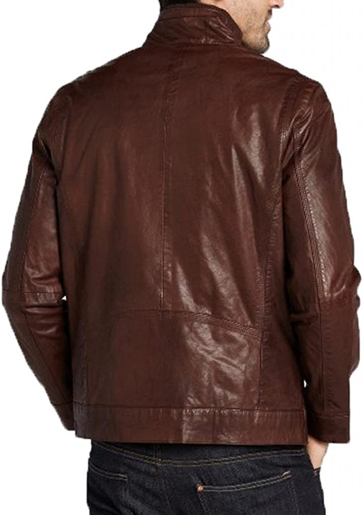 Pristine Leather Mens Biker Motorcycle Zipper Slim Fit Leather Casual Jacket